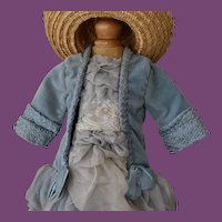 Beautiful Baby Blue doll dress and matching Straw Bonnet