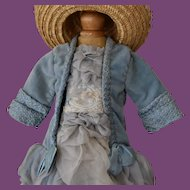 Beautiful Baby Blue doll dress and matching Straw Bonnet