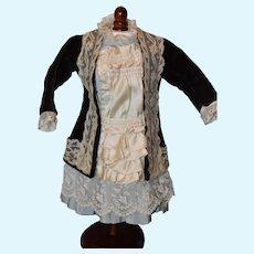"""Silk, Velvet & laces doll dress for 18-19"""" doll!"""
