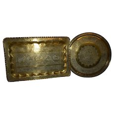 Islamic, Solid 1950's Brass Trays, Round and rectangle shapes!