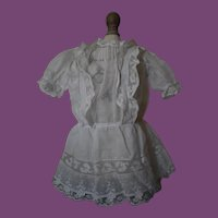 White cotton doll dress for Antique Dolls
