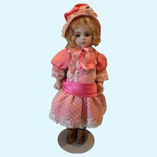 Pink silk with white lace trim doll dress and bonnet