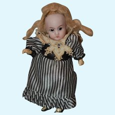 """6"""" Bisque head doll, Not marked, small Hairline"""