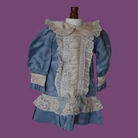 """Blue Rayon, lace doll dress for 18"""" doll!"""