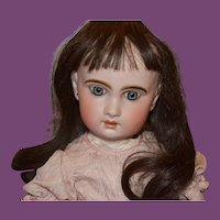 French Cheveux Dark brown human hair doll wig.