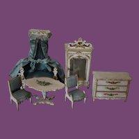 French Antique Gottschalk Doll House Furniture set