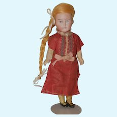 "6"" tall German doll, bisque head."