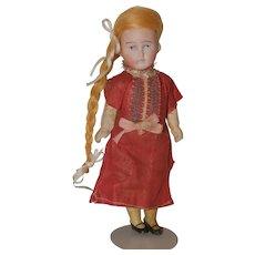 "6"" tall German doll, bisque head."