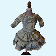"Blue  stripe doll dress for a 14"" tall doll!"