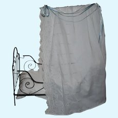French Antique Metal doll bed with bedding.