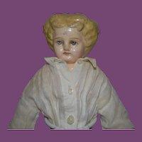 "German tall Papier Mache Shoulder head Doll! Holz Masie Doll 13"" tall"