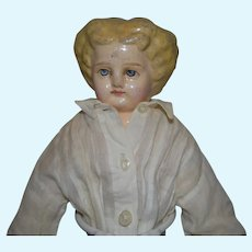 "German tall Papier Mache Shoulder head Doll! Holz Masie Doll 13"" tall"