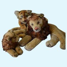 3 Steiff  Mohair lions