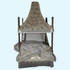 French Antique Doll canopy bed