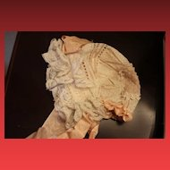 Purchased in France! Lovely Antique Lace Doll Bonnet, for a larger head, for your antique dolls! French!