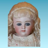Kestner Shoulderhead, A.Thuillier look! Beautiful face, blue eyes, old gown, kid body, German Kestner doll!