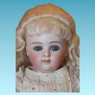 Kestner Shoulderhead, A.Thuillier look! Beautiful face, blue eyes, old gown, kid body, German Kestner doll!