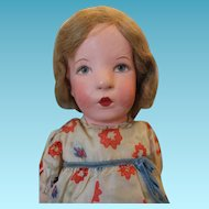 "Wonderful Kathe Kruse cloth doll, 20"" tall, Great condition, lines on face, original hair set, original clothes, shoes and socks.  1940's era, with original Hang tag!"