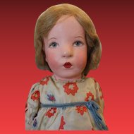 """Wonderful Kathe Kruse cloth doll, 20"""" tall, Great condition, lines on face, original hair set, original clothes, shoes and socks.  1940's era, with original Hang tag!"""