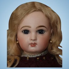 """15"""" tall Incised DEPOSE Jumeau, French Antique doll! Beautiful face, great clothes, antique mohair wig, hat, dress & underclothes!"""