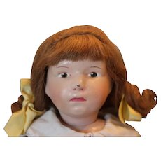 """Great Schoenhut doll with original human hair wig, pouty face! original paint on face, nose rub flake off of tip of nose and small crack on cheek area, next to nose. 16"""" tall, hard to find face!!"""