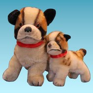 """Pair of Steiff Bully Bull dogs, 2 different sizes, 4"""" tall and 6"""" tall on the dogs. Great condition, although they have no tags or pins in the ears."""