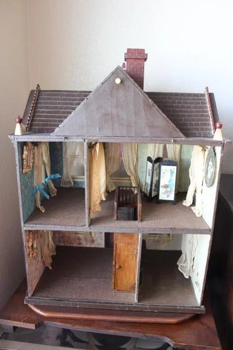 Antique 1907 Wood Doll House American Attic 2 Story 5