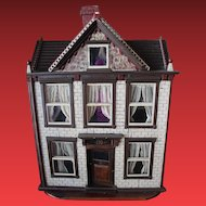 Antique 1907 Wood Doll House!  American, Attic, 2 story, 5 rooms, stairs, glass windows. FREE Shipping in the US only!!