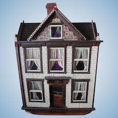 Antique 1907 Wood Doll House!  American, Attic, 2 story, 5 rooms, stairs, glass windows.