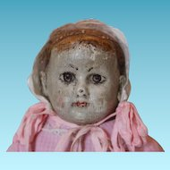 "Early Pale Painted Alabama Indestructible Baby Doll, Ella Smith, Alabama Babies, Hard to find doll! Pale face almost white! 14 1/4"" tall!"