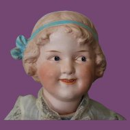 """16"""" tall Heubach Character doll from 1912, Coquette German Antique, bisque head, paper mache body, compo arms legs Intaglio painted eyes, no hairlines."""