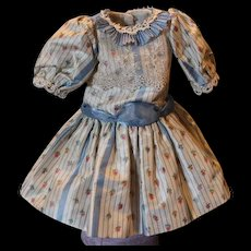 "Lovely silk and lace flower print doll dress, should fit a 13-14"" tall doll! Cotton lined throughout."