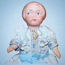"""Armand Marseille,  German AM 210 doll. bisque head, replaced crude 6 7/8"""" tall, body parts, hairline on side of head, see picture."""