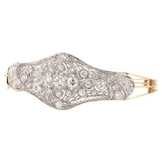 Platinum Art Deco Diamond Converted Brooch 14-Karat Yellow Gold Bangle Bracelet