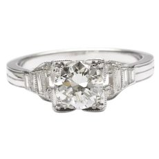 Art Deco Platinum Diamond Engagement Ring, C. 1930