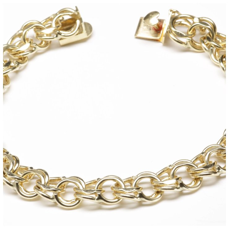14 Karat Yellow Gold Traditional Double Link Charm Bracelet
