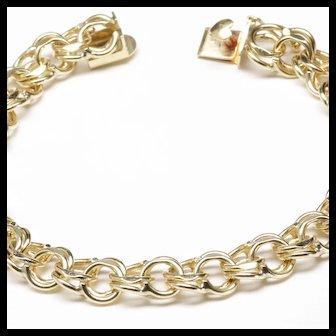 14-Karat Yellow Gold Traditional  Double-Link Charm Bracelet