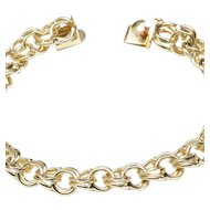 14-Karat Yellow Gold Traditional  Double-Link Charm Bracelet