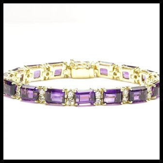 Amethyst and Diamond LIne Bracelet in 18-Karat Yellow Gold
