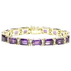 Amethyst and Diamond LIne Bracelet in 18-Karat Yellow Gold