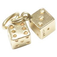 Realistic 14-Karat Yellow Gold Dice Charm