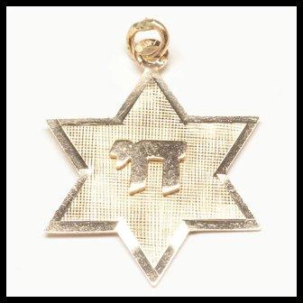 14-Karat Yellow Gold Star of David Chai Charm