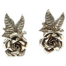 .800 Silver Clip-on Earrings by Peruzzi, c. 1950s