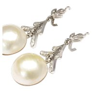 Long Diamond Dangle Earrings with Round Cultured Mabe' Pearls