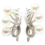 Mikimoto Cultured Pearl Screwback Earrings in Silver