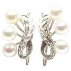 Mikimoto Cultured Pearl Screwback Earrings in Silver