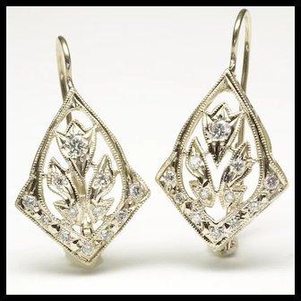 Open Cartouche Design Diamond Earrings, C. 1950