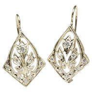 Open Cartouche Design Diamond Earrings, C. 1950
