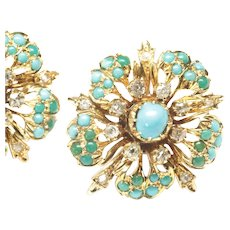 Striking Round Cluster Earrings with Turquoises and Diamonds, Victorian