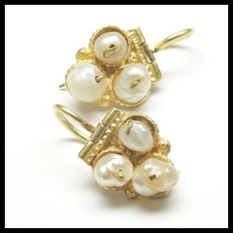 18-Karat Yellow Gold Freshwater Pearl Earrings